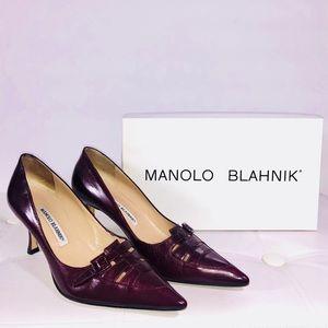 Manolo Blahnik Authentic Ruby Leather Pumps